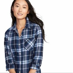 Old Navy Blue and White Plaid Button Down Top XXL
